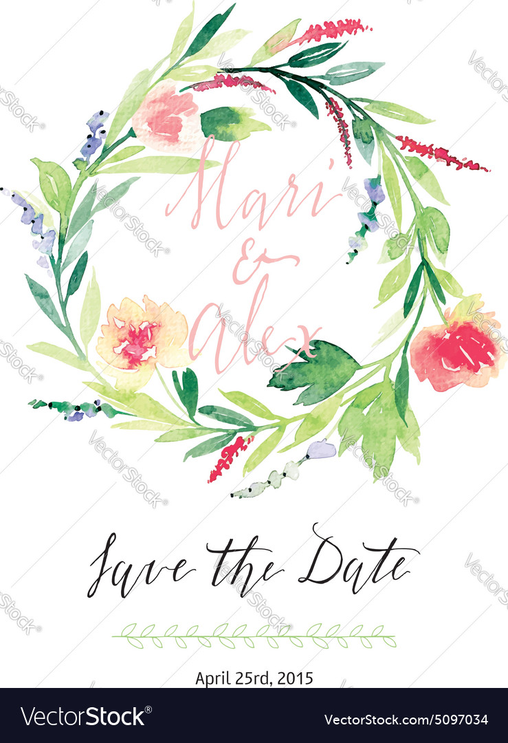 Watercolor save date flowers