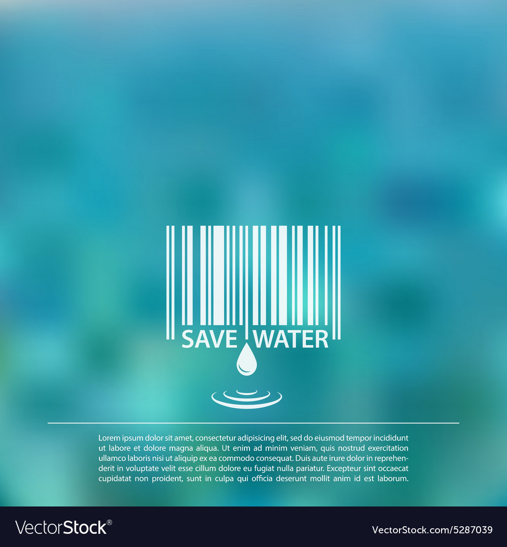 Blurred sea background with save water vector image