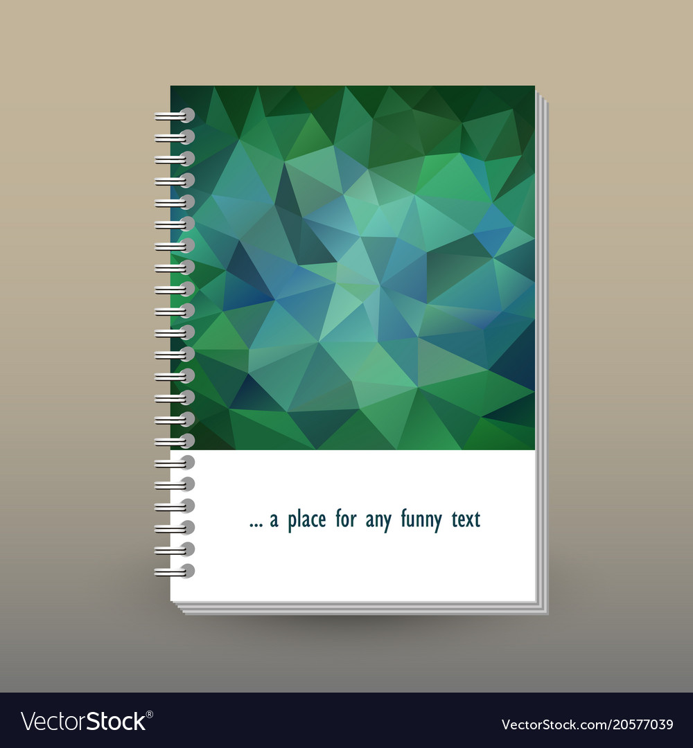 Cover of diary or notebook emerald green polygonal vector image