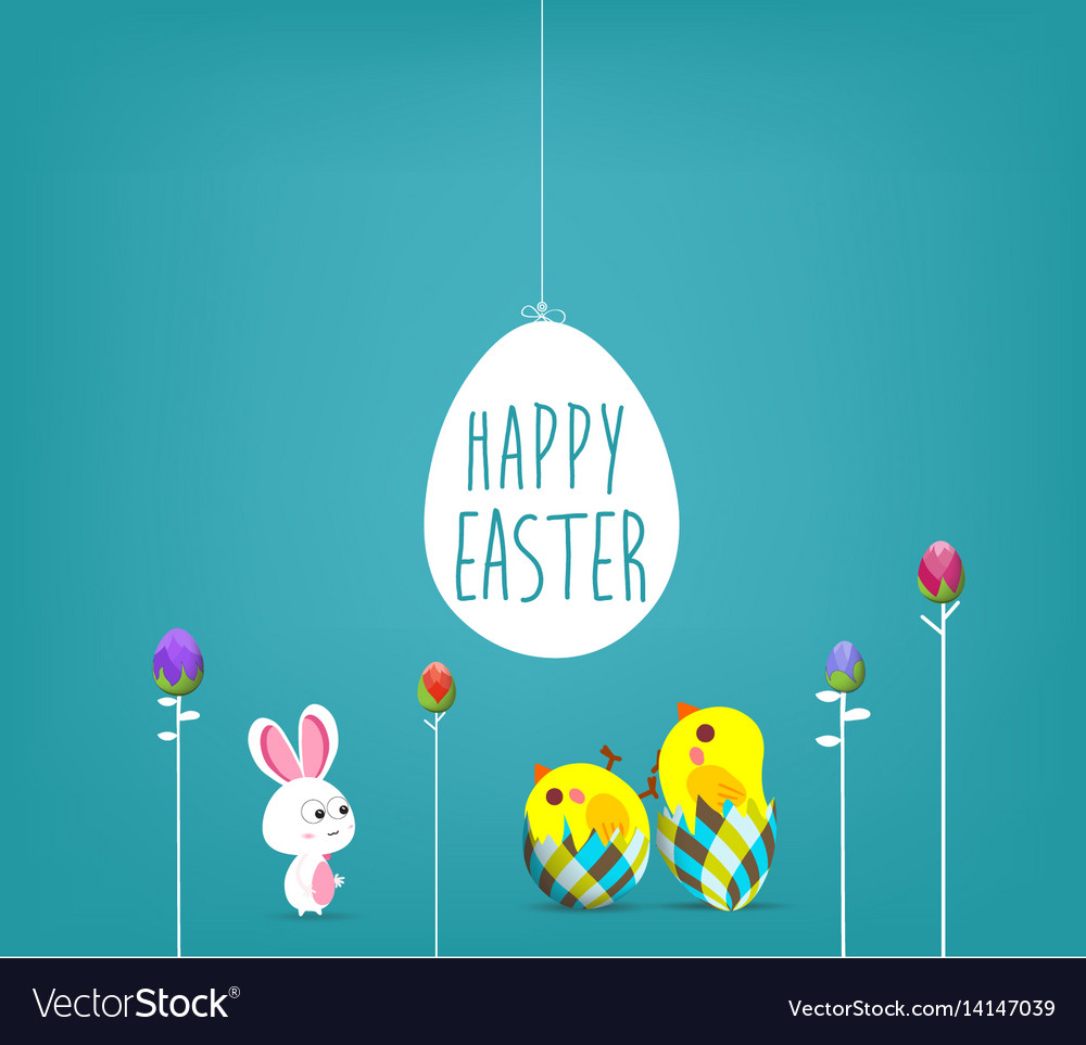 Easter blue poster with chicken and handwritten