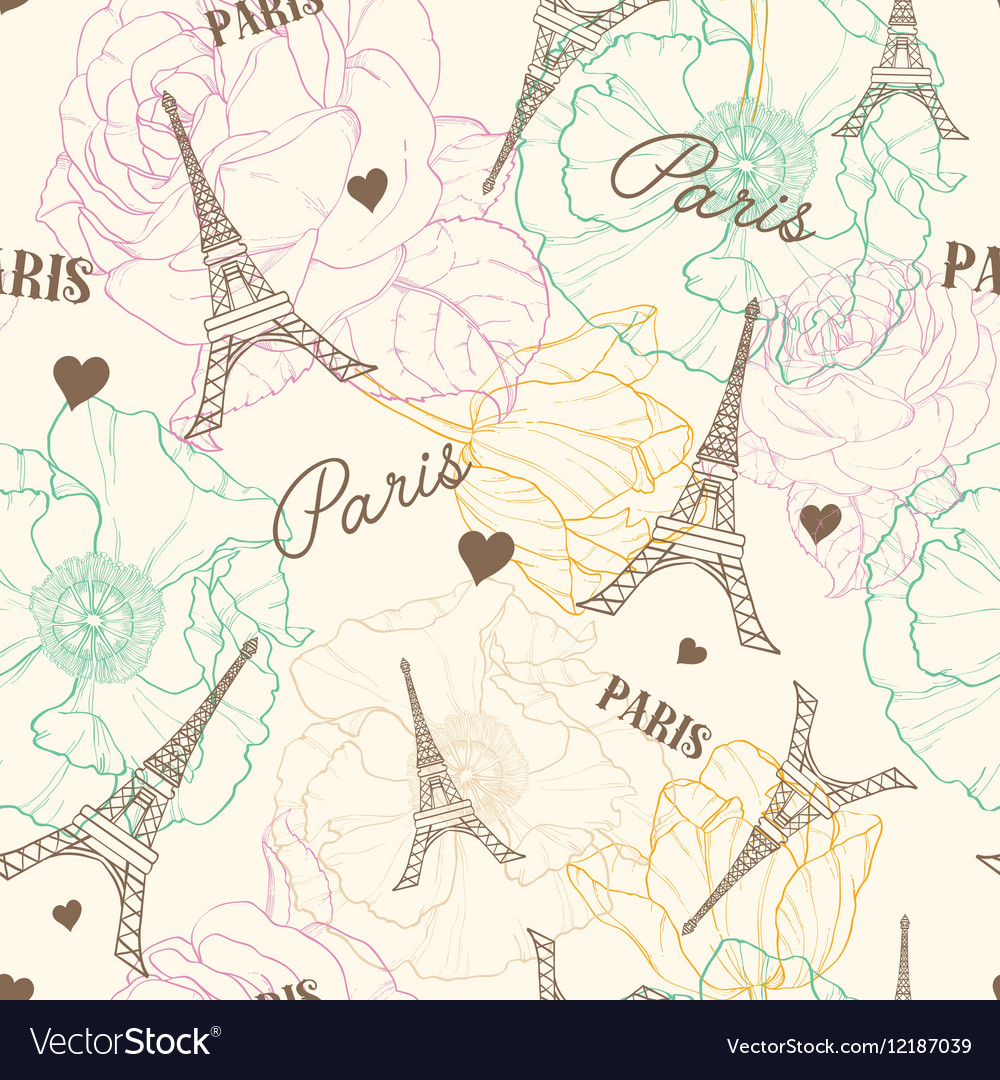Eifel Tower Paris Seamless Pattern In