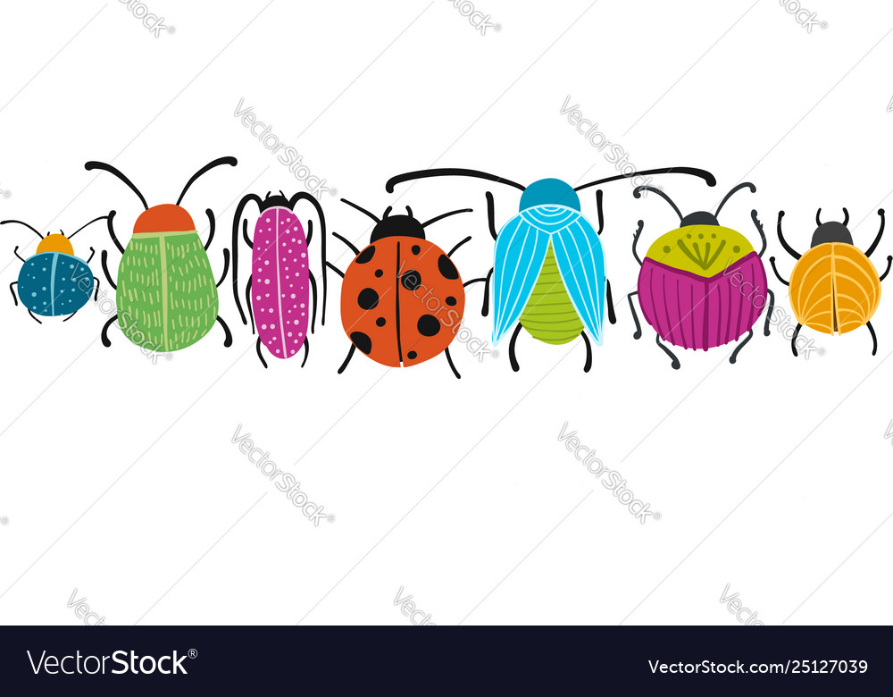 Funny beetles bugs character for your design