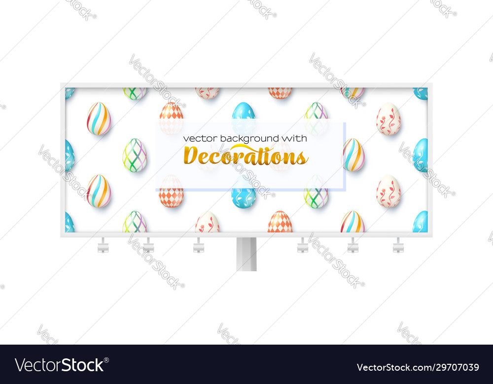 Funny pattern with eggs on billboard long ad