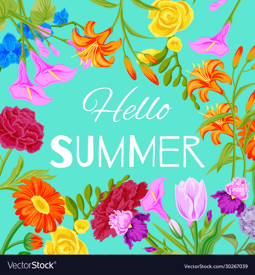Hello summer floral background with flowers