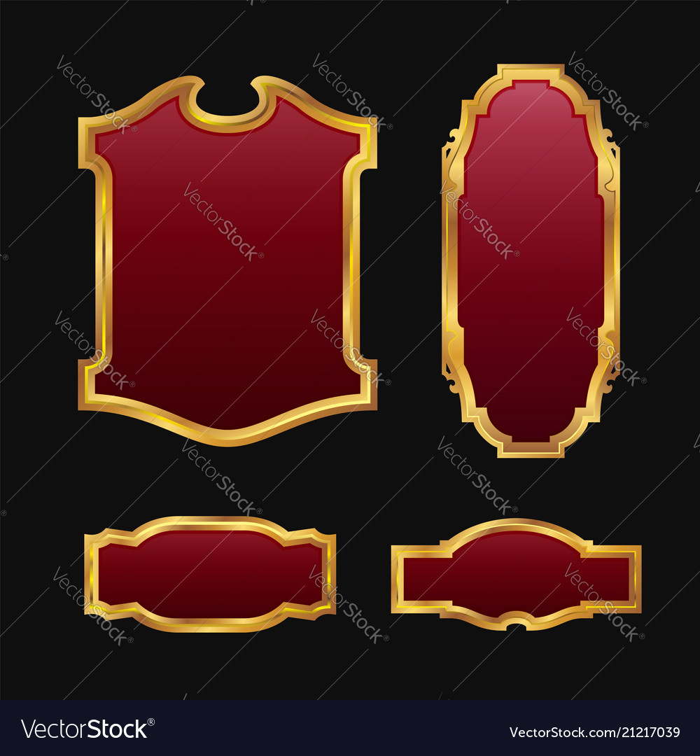 Labels with 3d decorative red golden frames