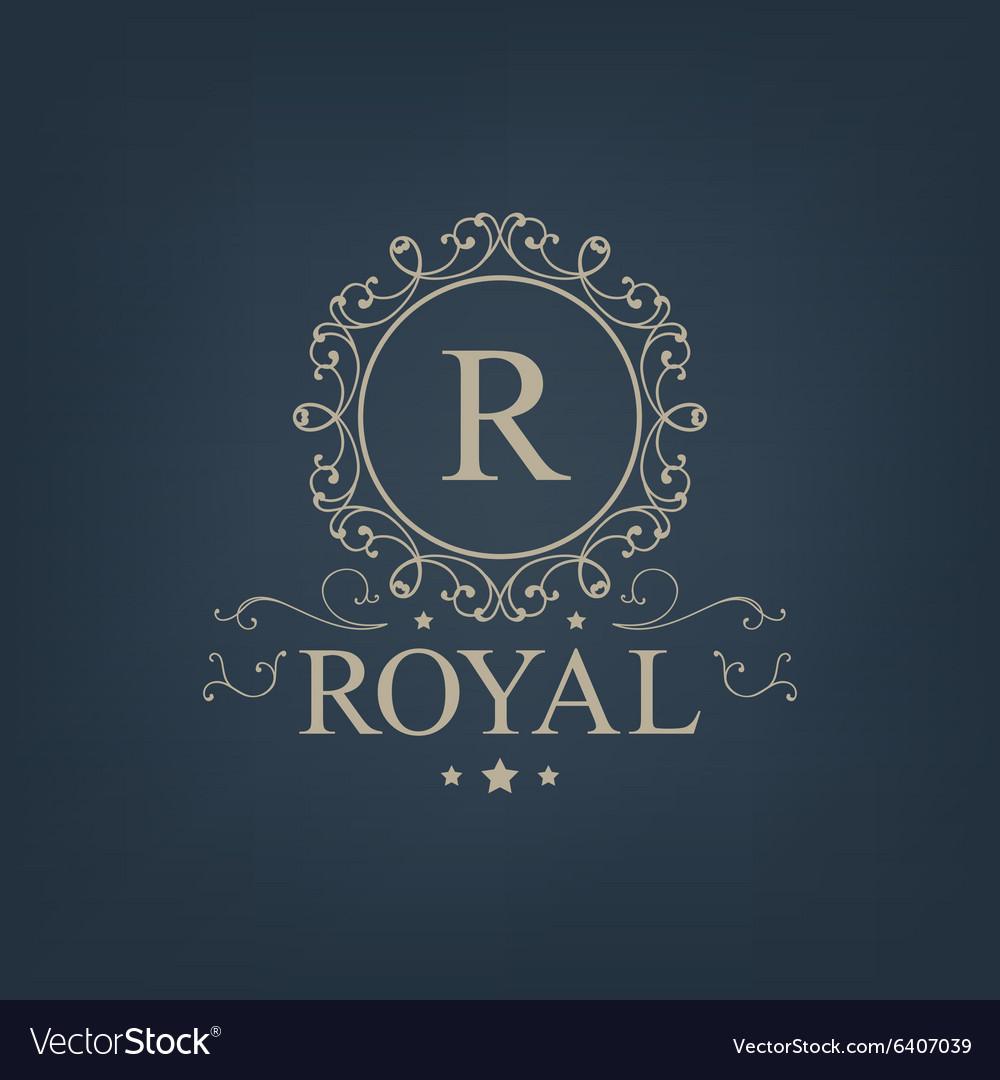 Luxury royal monogram logo icon isolated vector image