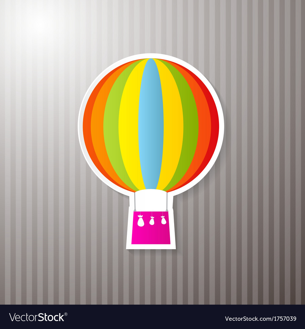 Paper Colorful Hot Air Balloon on Cardboard vector image