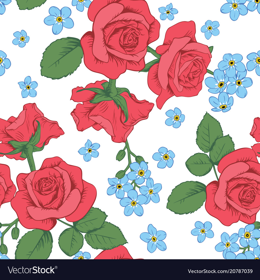 Red roses and myosotis flowers on white background