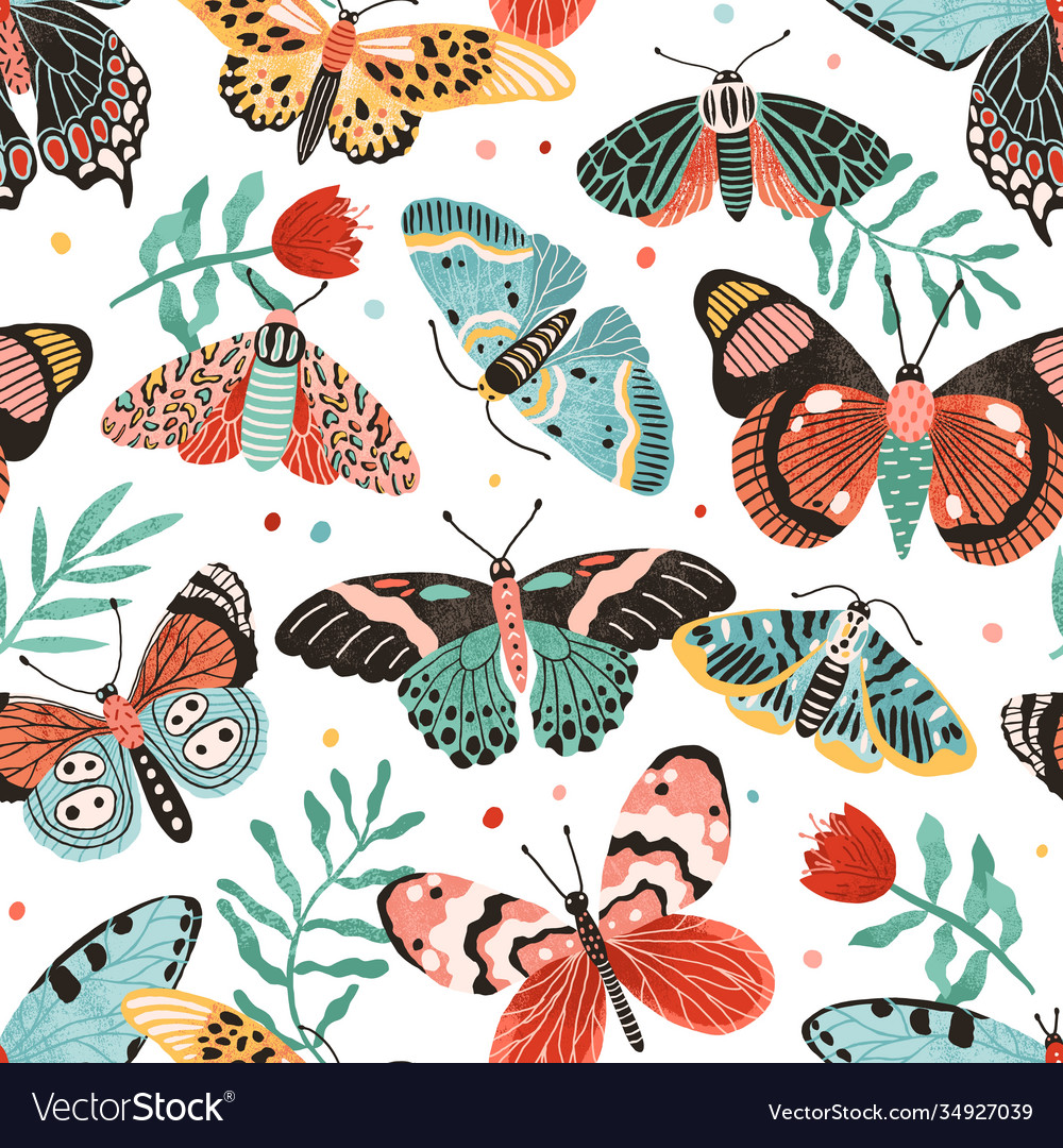 Seamless pattern with gorgeous butterflies and
