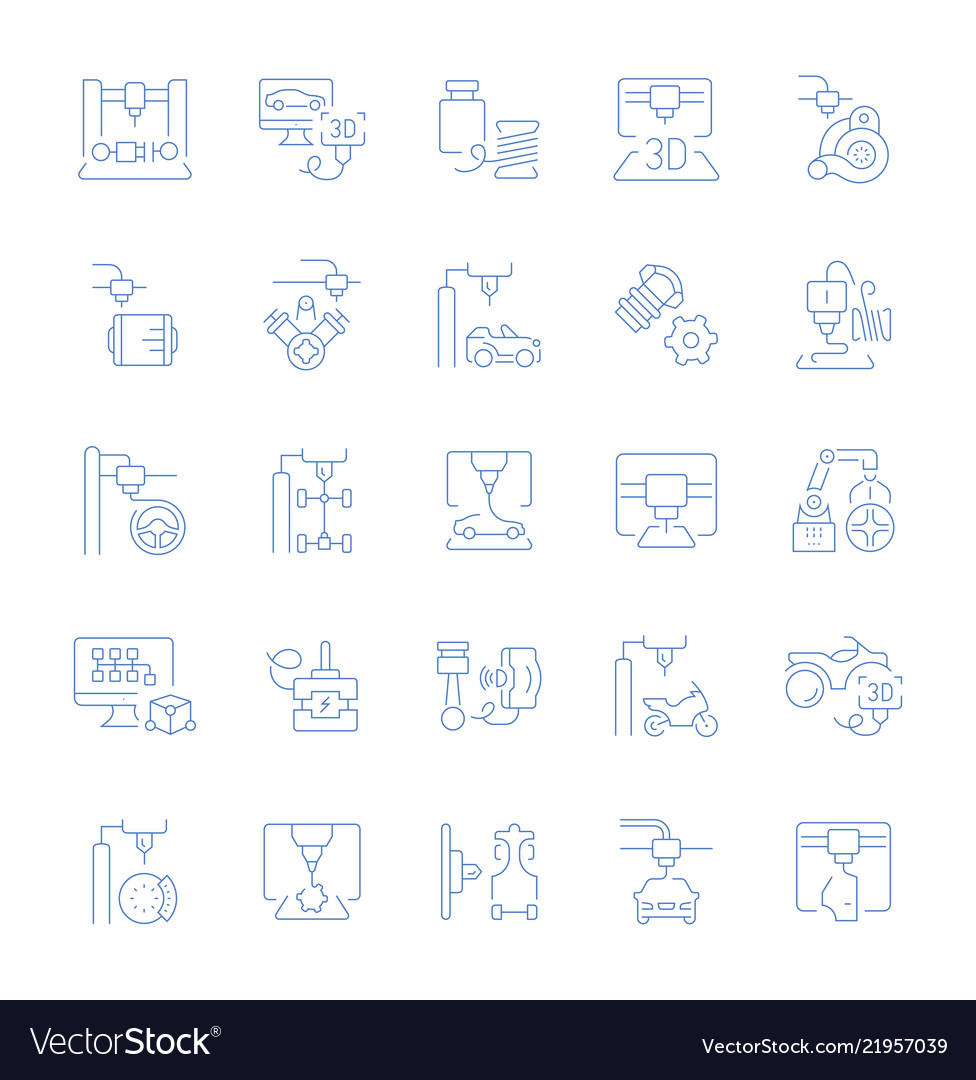 Set line icons of 3d cars printing