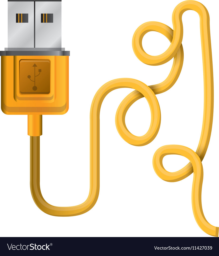 Silhouette usb connector with wired vector image