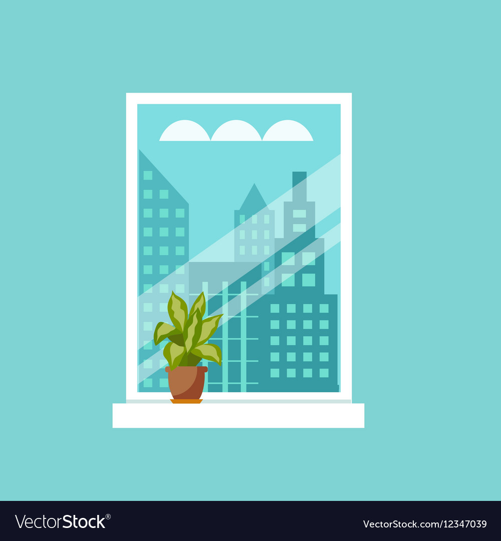 Window with house plants and flowers