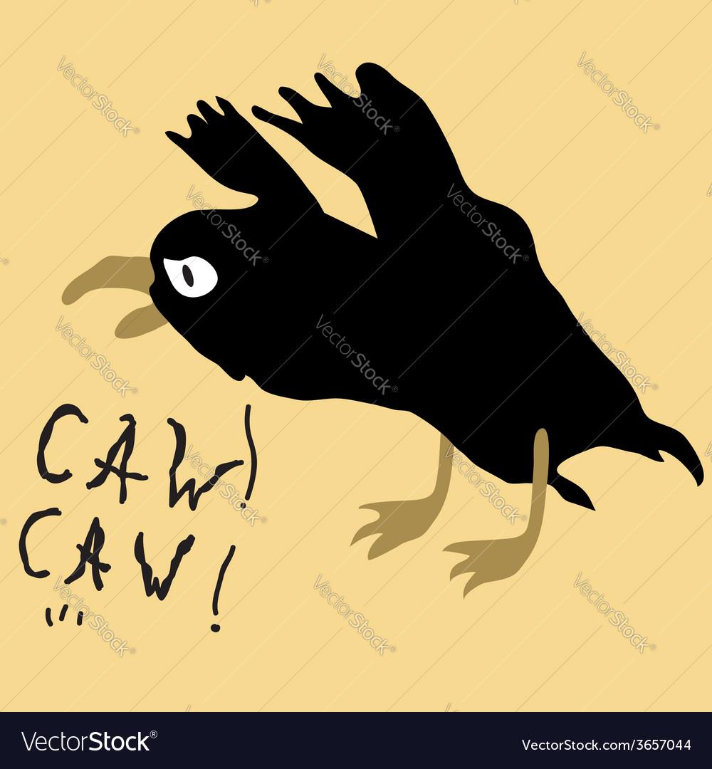 Black bird crow on the yellow background
