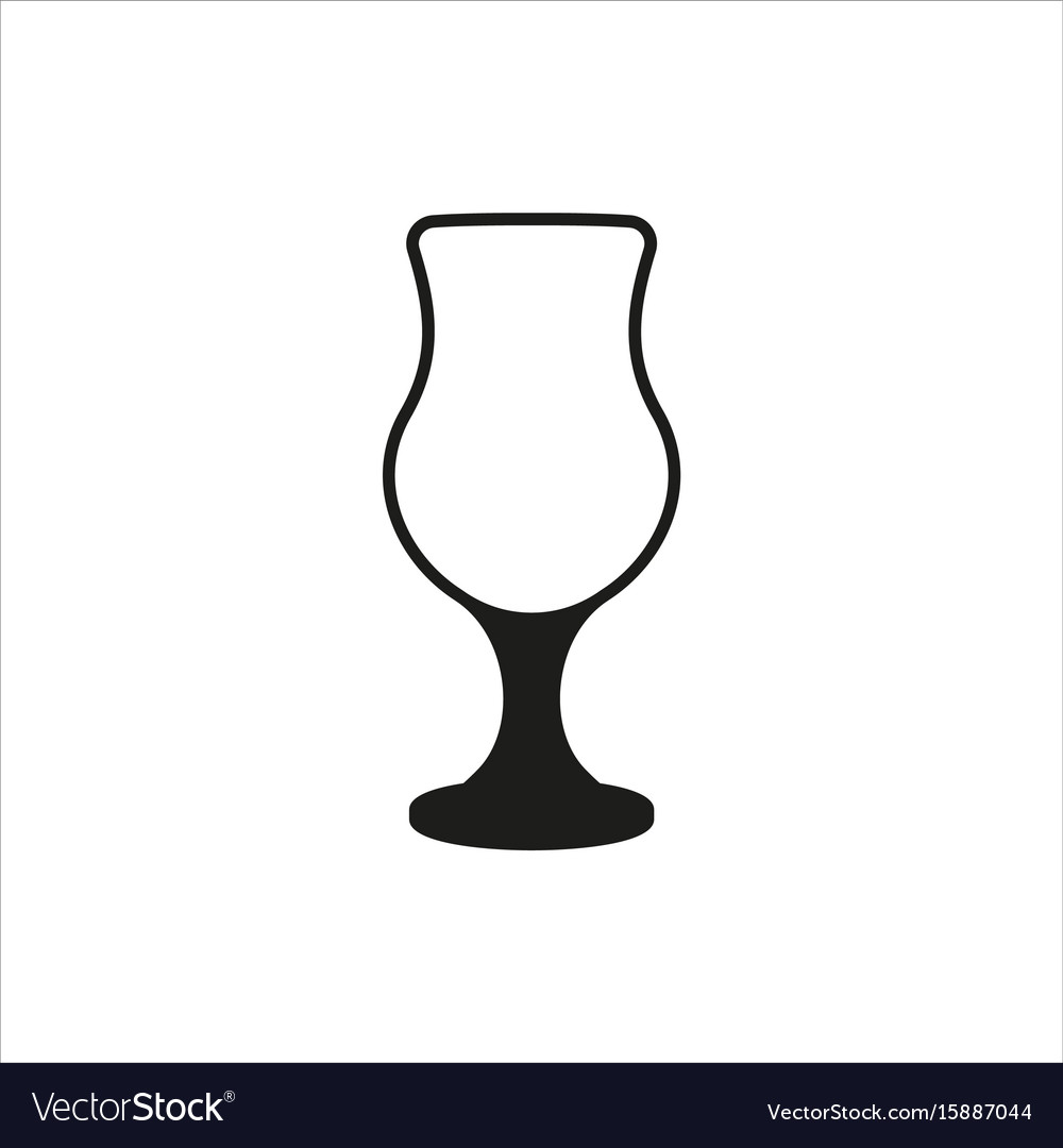Cocktail glass icon in simple monochrome style