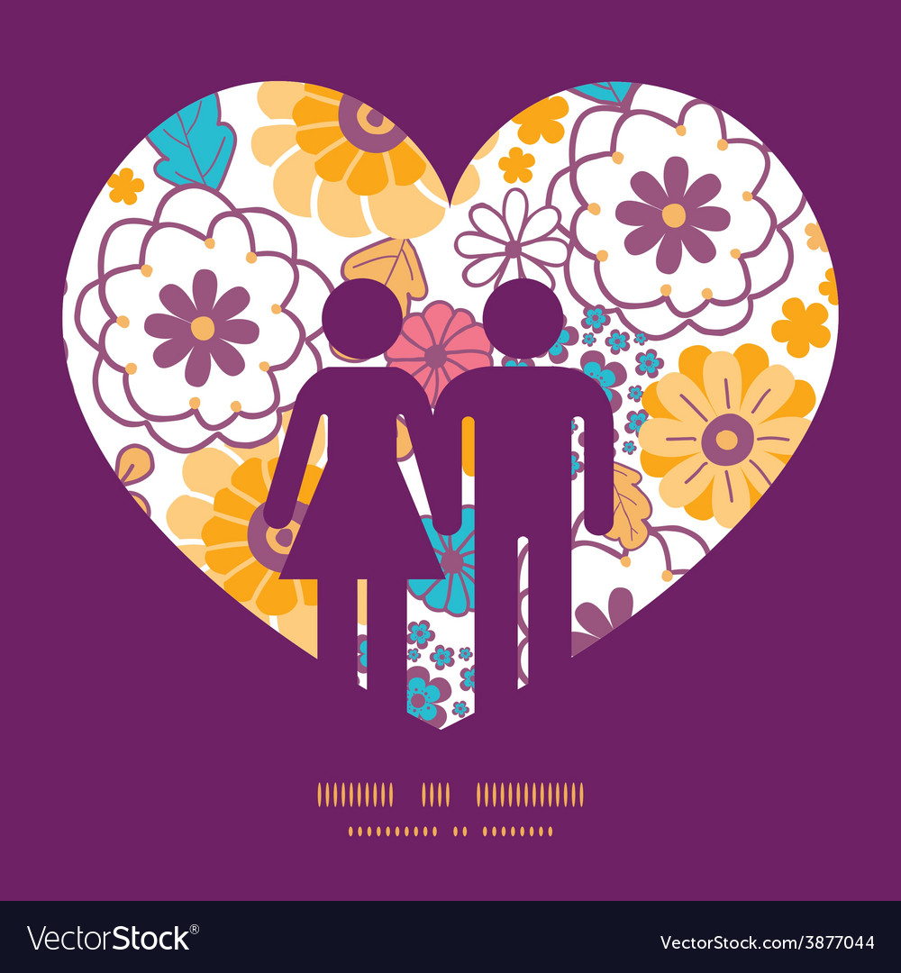 Colorful oriental flowers couple in love