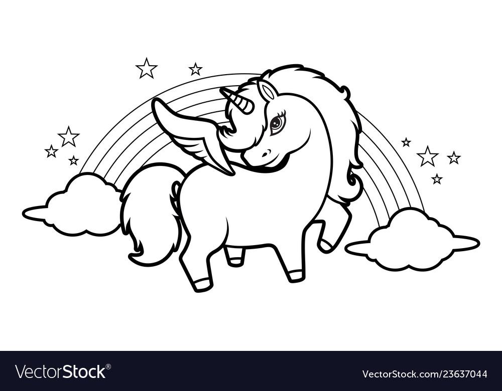 Cute little magical unicorn rainbow and stars