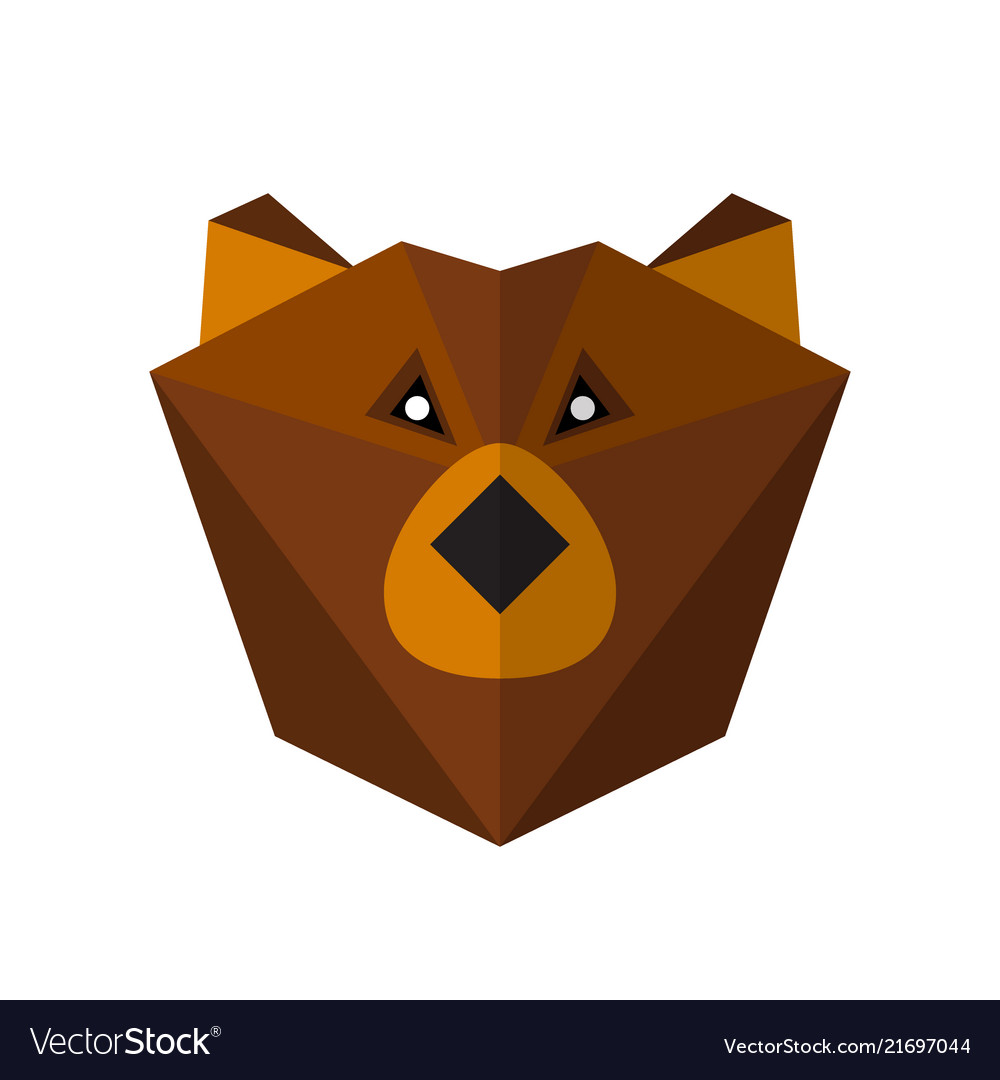 Flat style bear icon isolated on a white