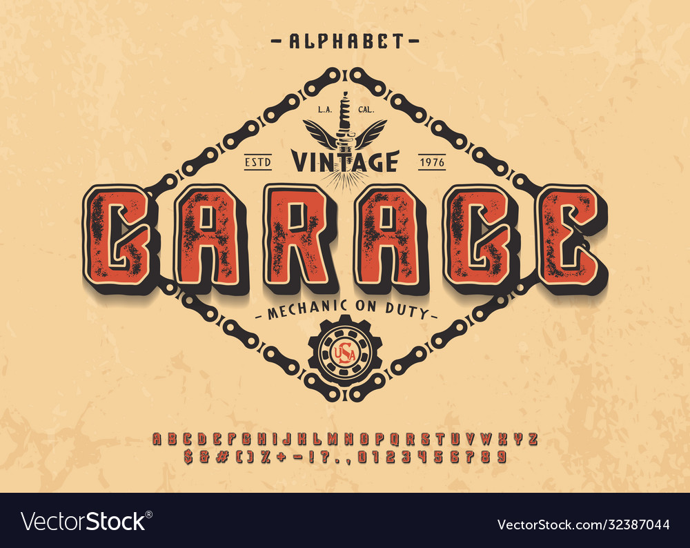 Font garage 3d display typeface