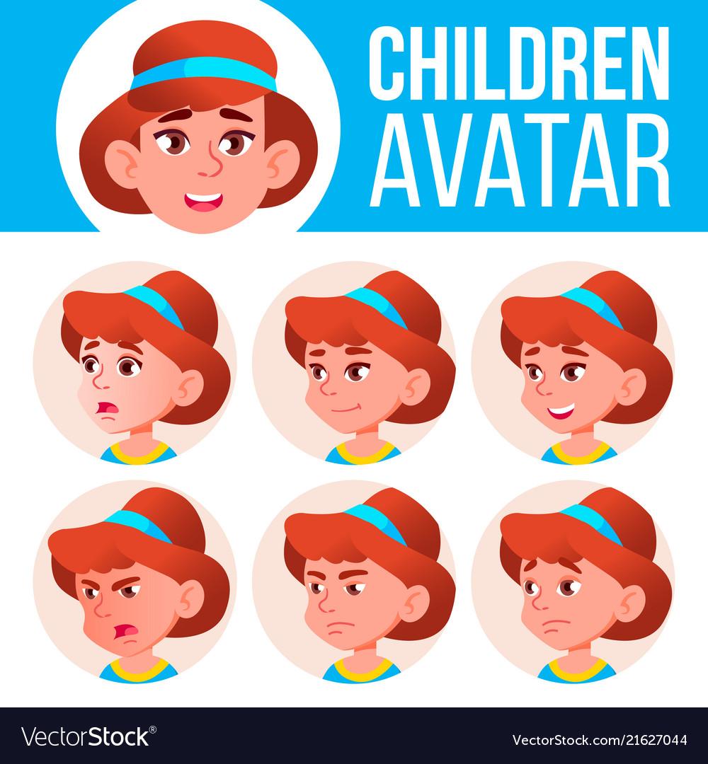 Girl avatar set kid kindergarten face