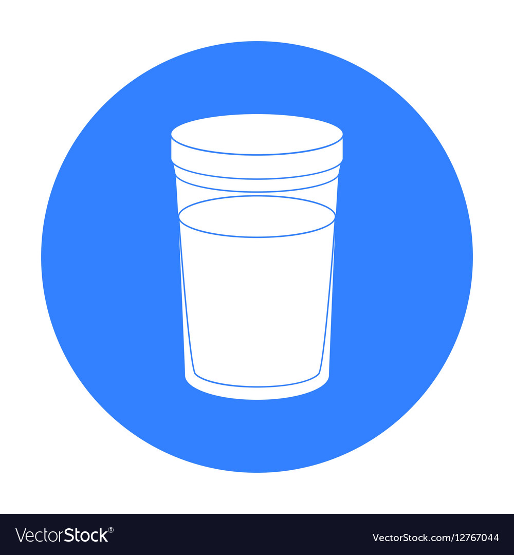 Glass of milk icon in black style isolated on