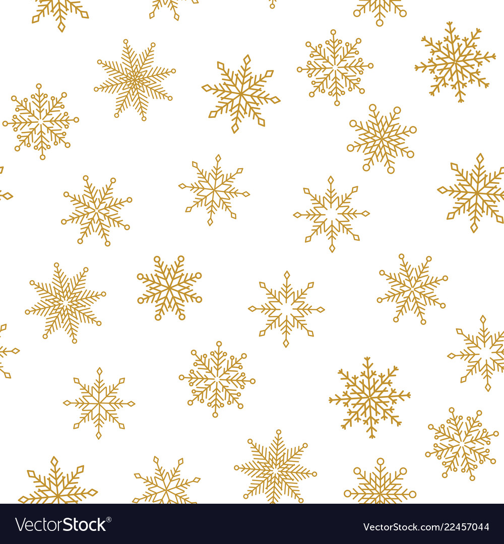 Golden snowflake simple seamless pattern