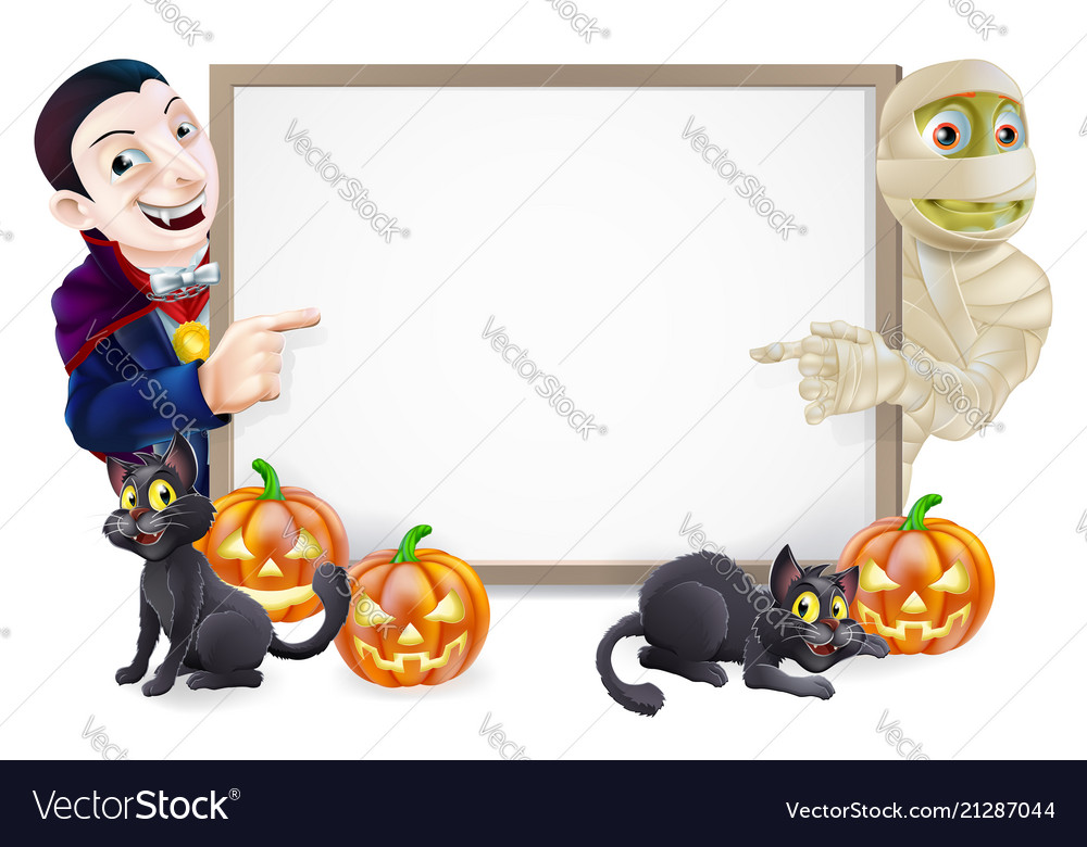 Halloween sign with mummy and dracula