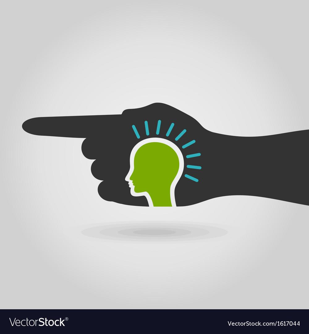 Head in hand vector image