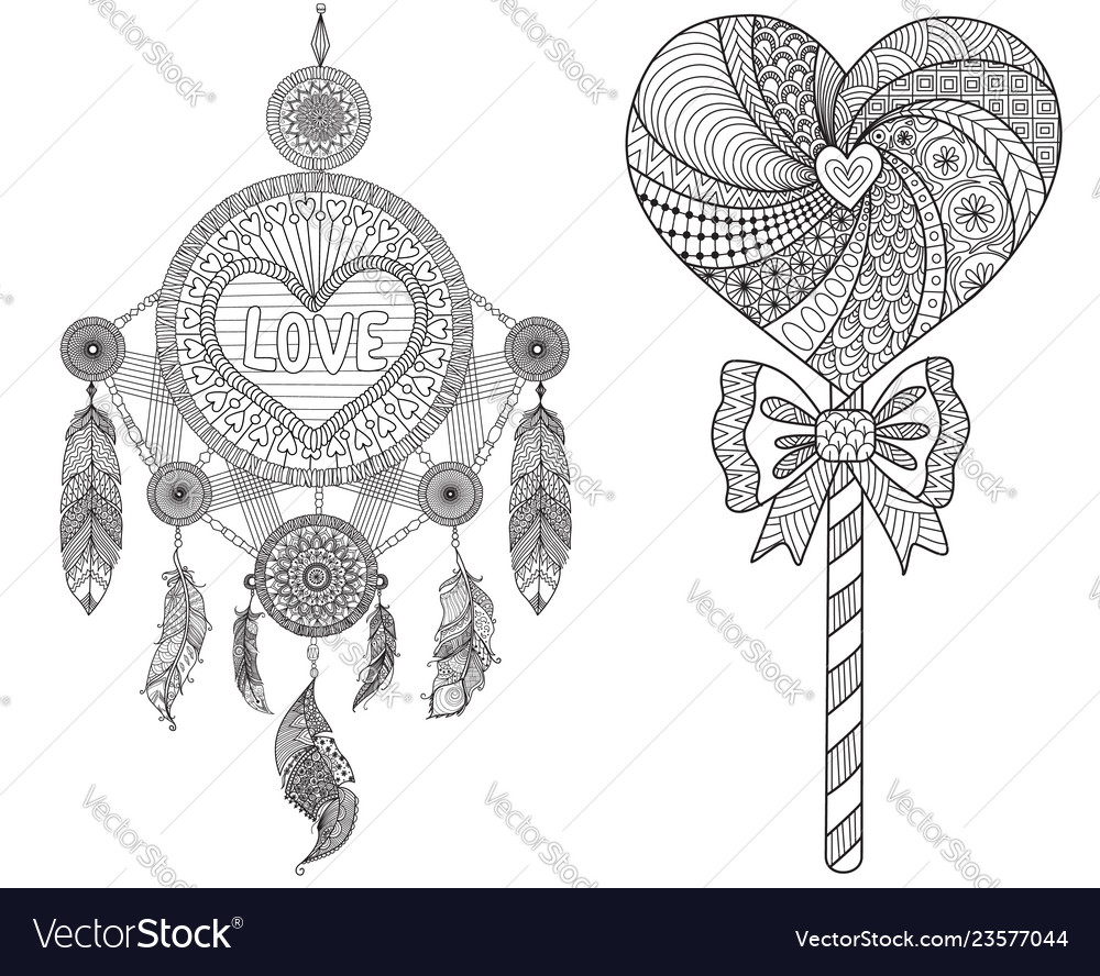 Hearted shape dream catcher and lollipop