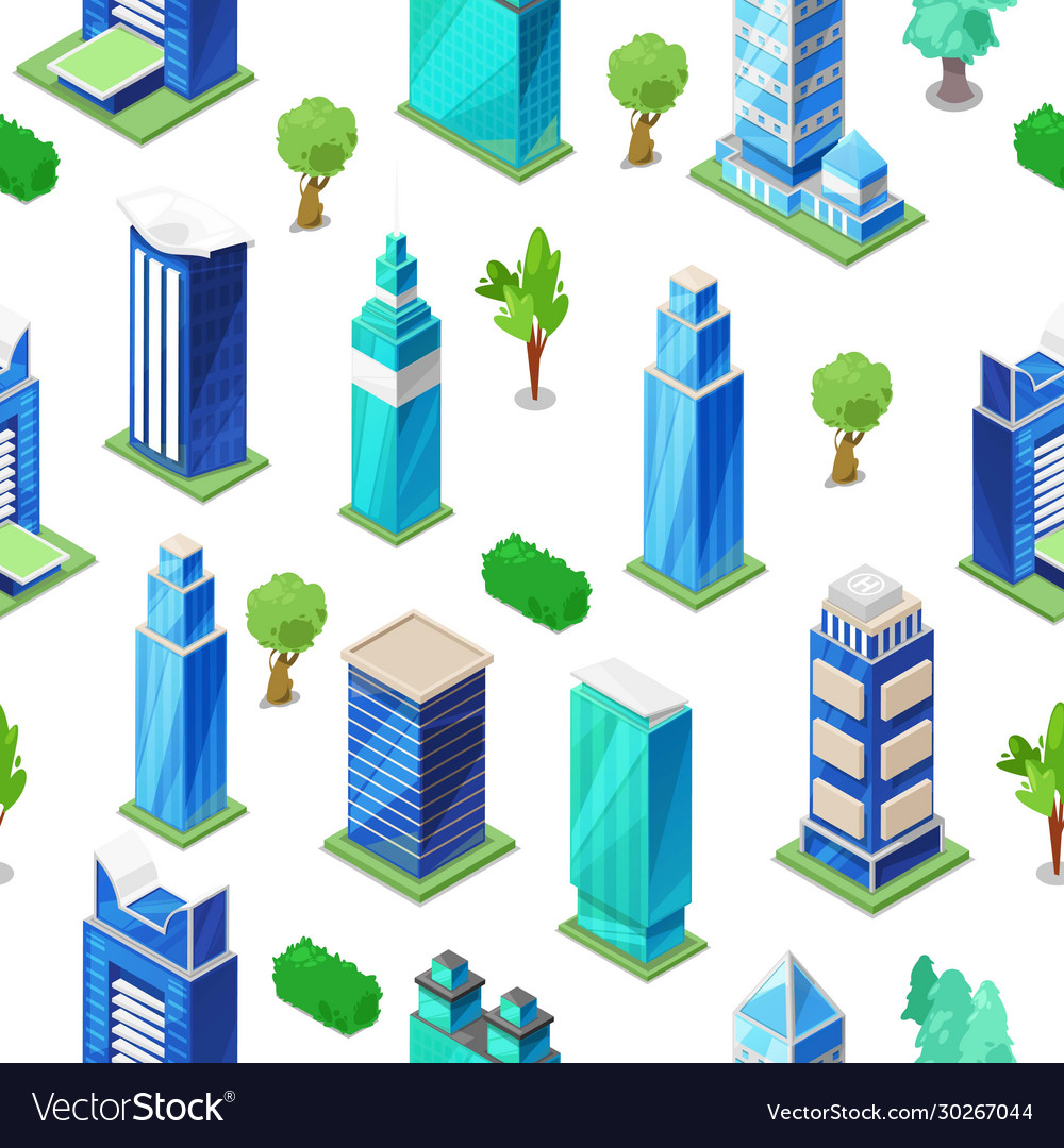 Isometric city modern seamless pattern with city