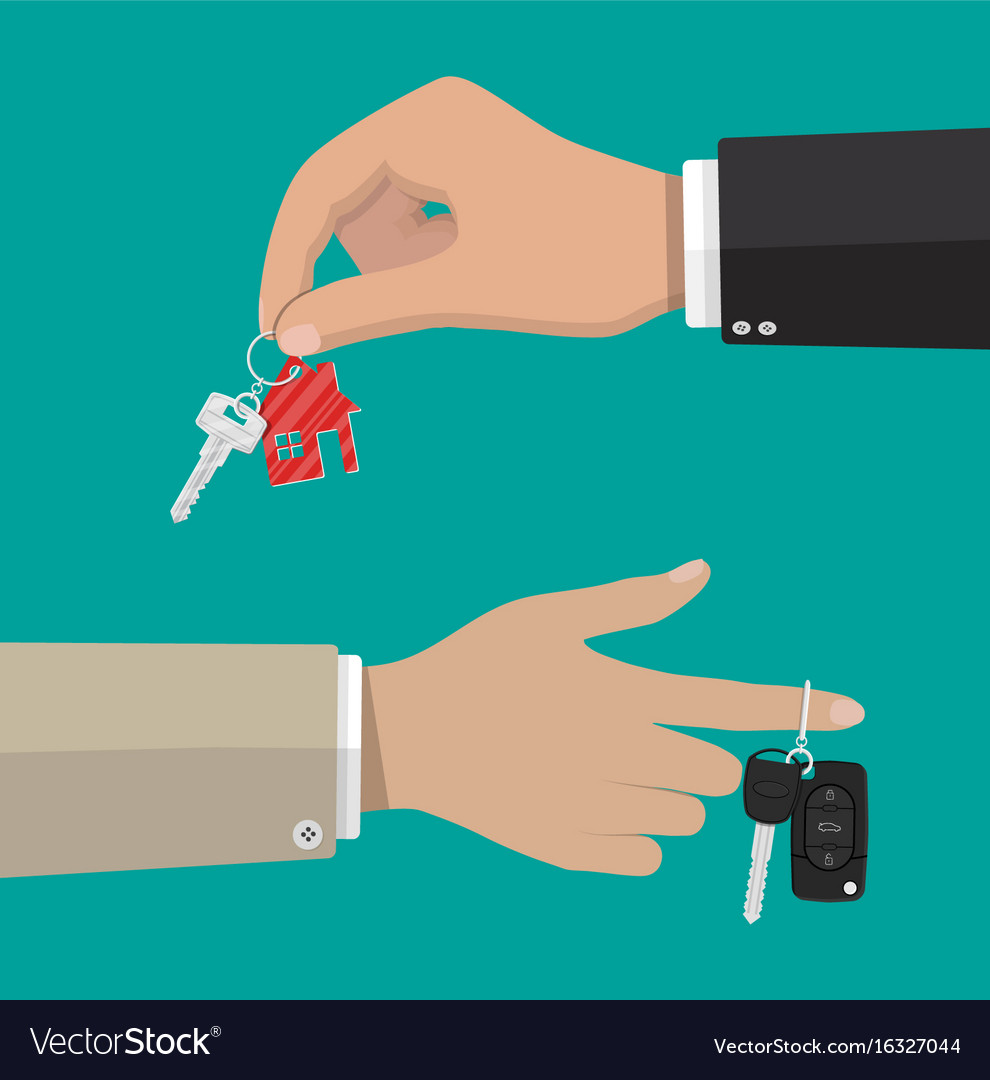 Key with keychain house and car key with alarm