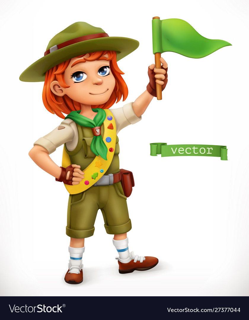 Little scout with green flag comic character 3d