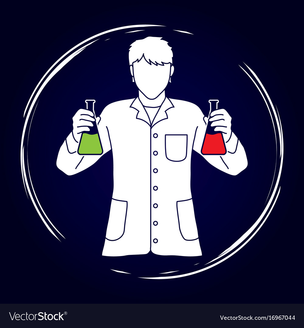 Scientist with flask chemical graphic