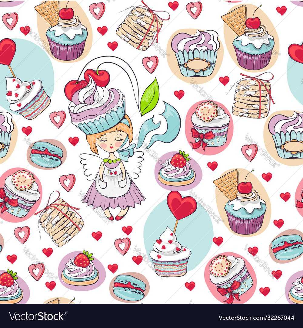 Seamless sweet cupcake party background pattern
