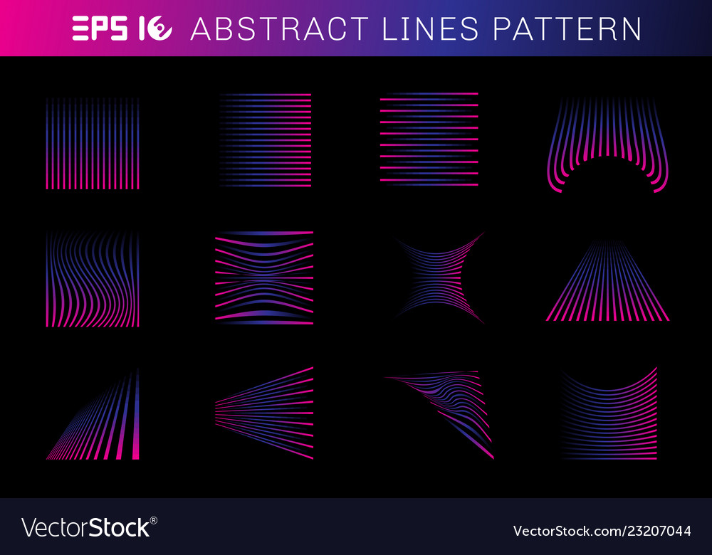 Set abstract lines pattern elements blue and