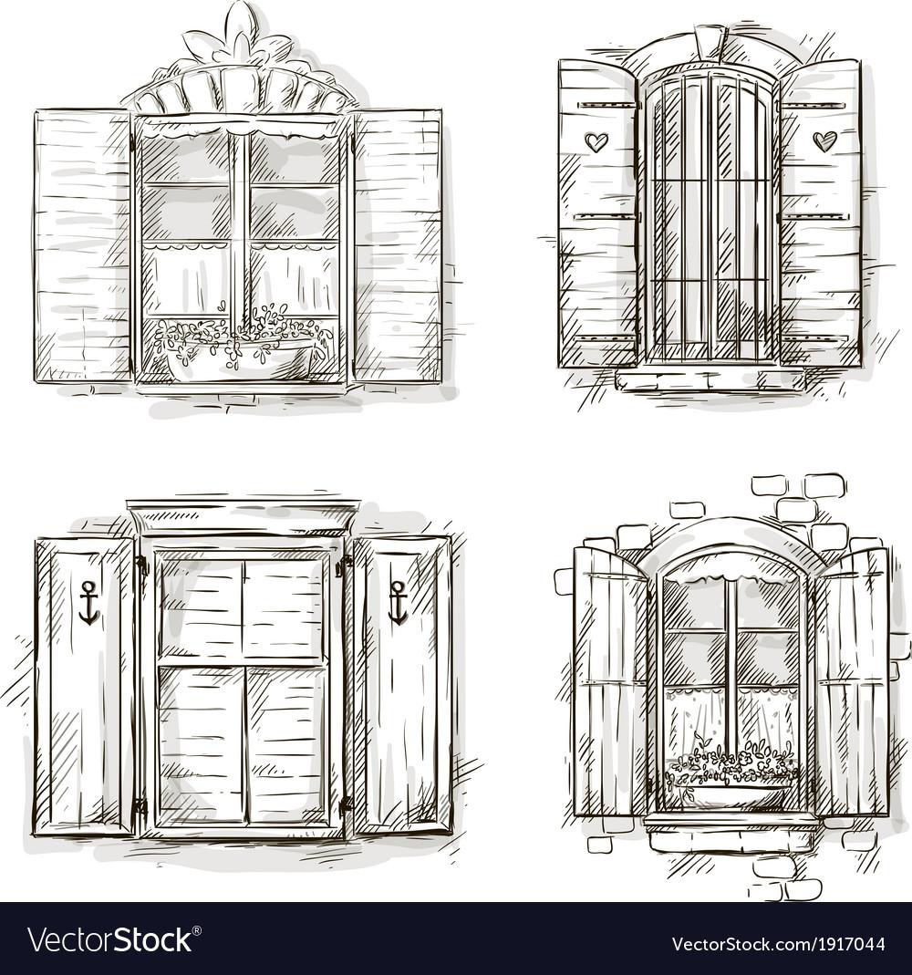 Vintage window hand drawn set of drawings