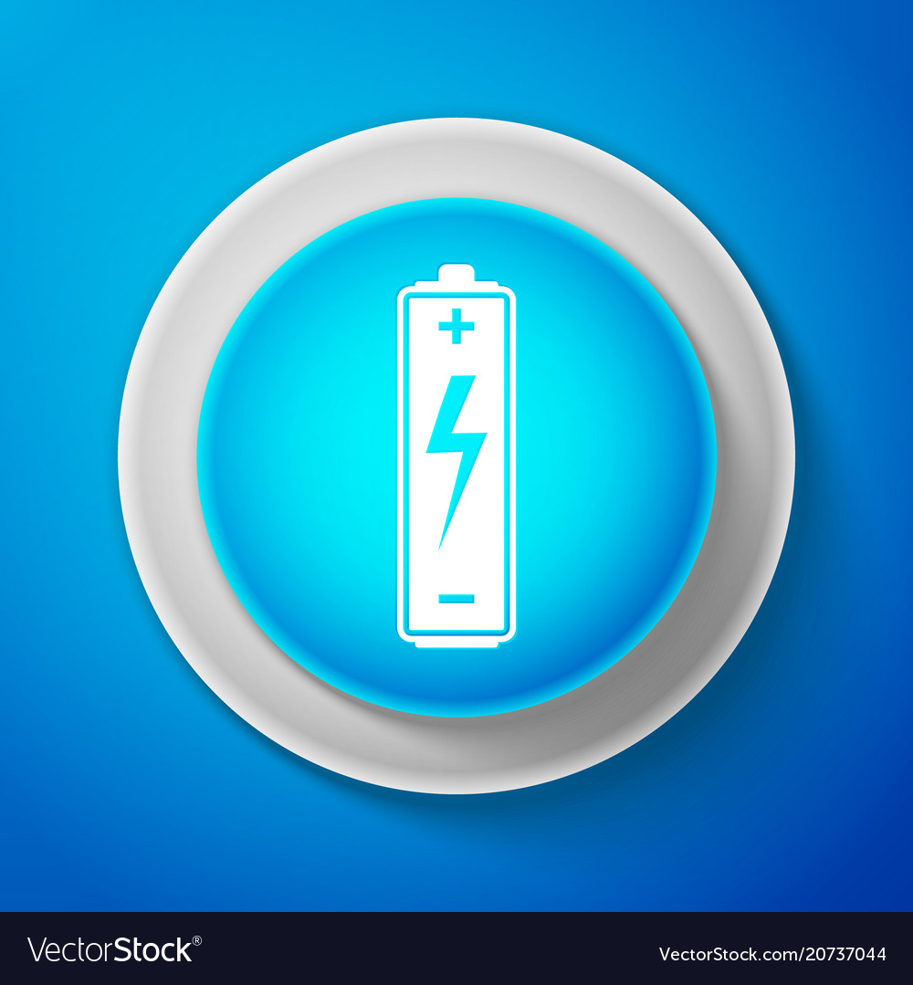 White battery icon isolated on blue background