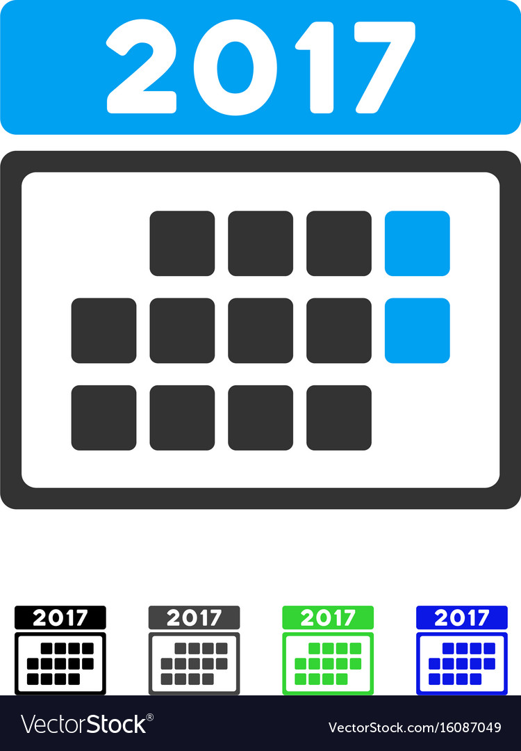 2017 calendar month table flat icon vector image