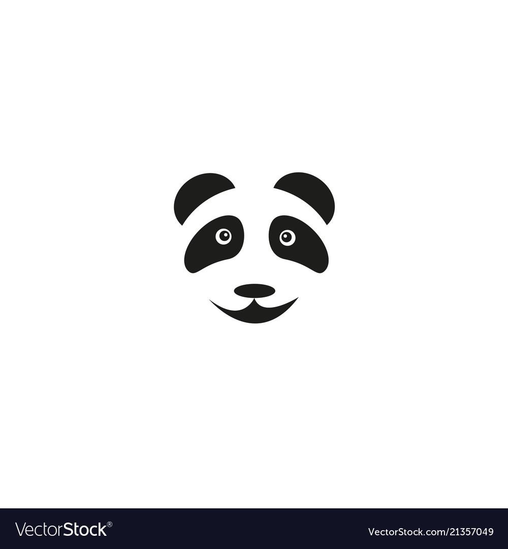 A cute head baby panda bear smiles on a white