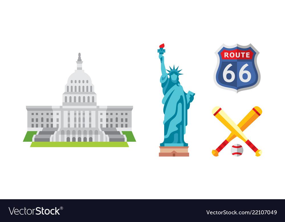 American national symbols set usa landmarks