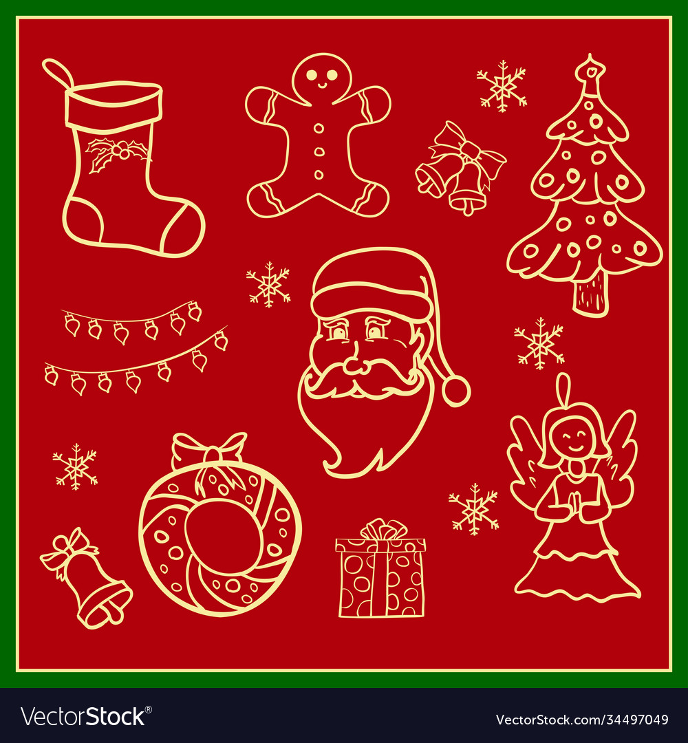 Christmas icons hand drawn simple set