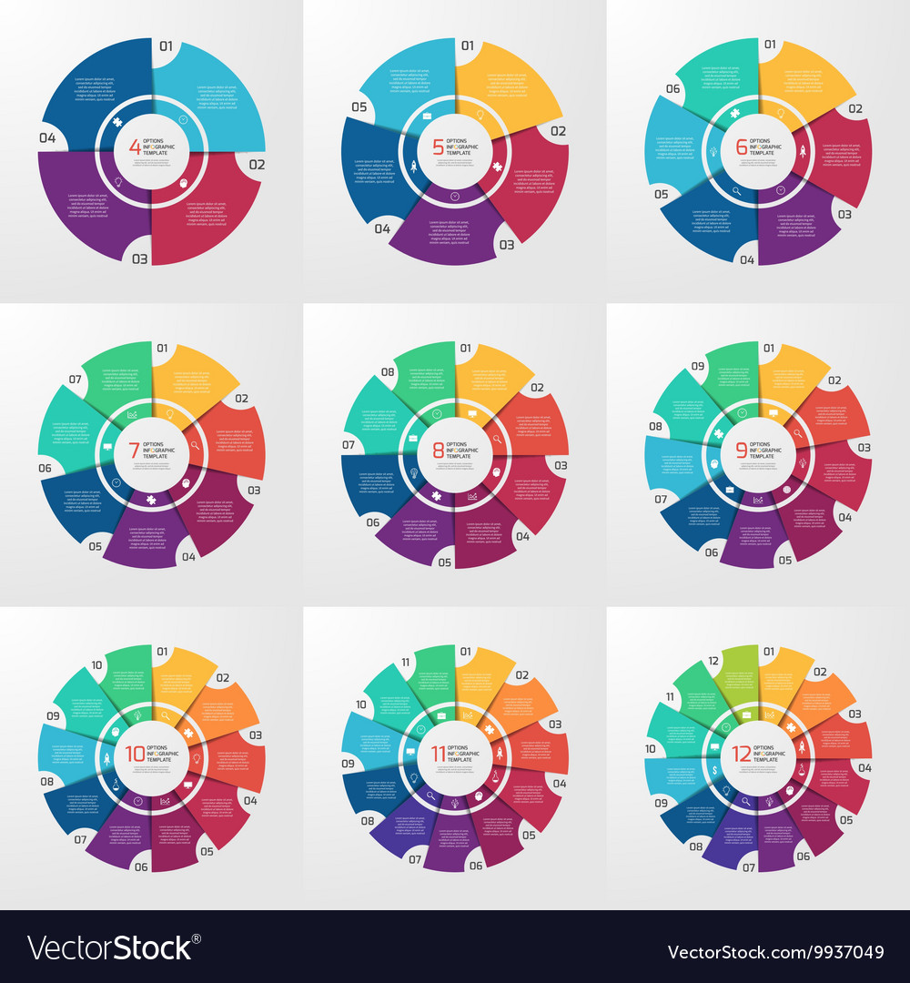 Circle infographic set 4 12 options