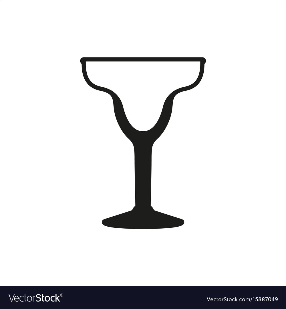 Cocktail margarita glass simple monochrome style vector image