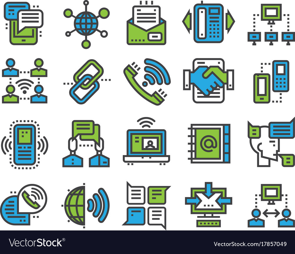 Communication sotial thin outline icons media