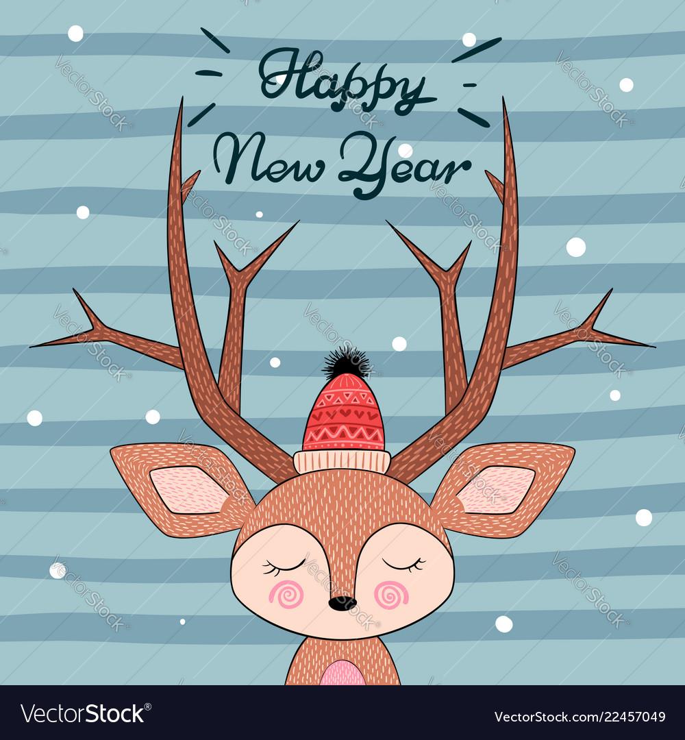 Cute deer character happy new year
