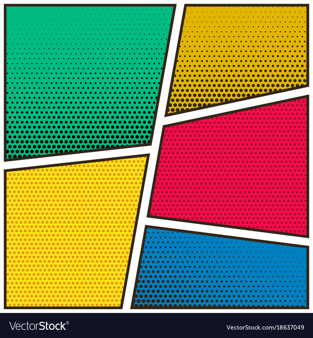 five empty comic book page colorful template vector image