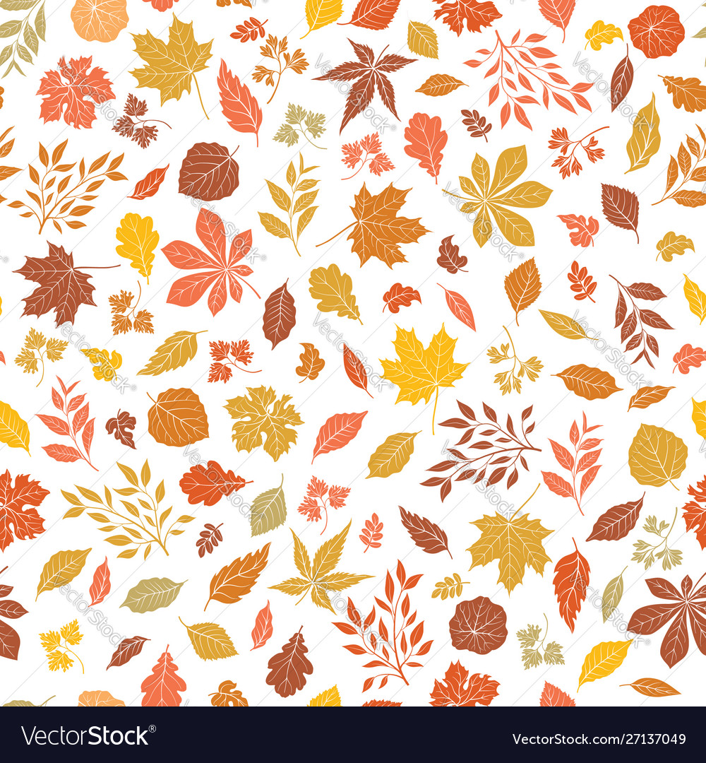 Floral Autumnal Leaf Seamless Pattern Fall Leaves Vector Image