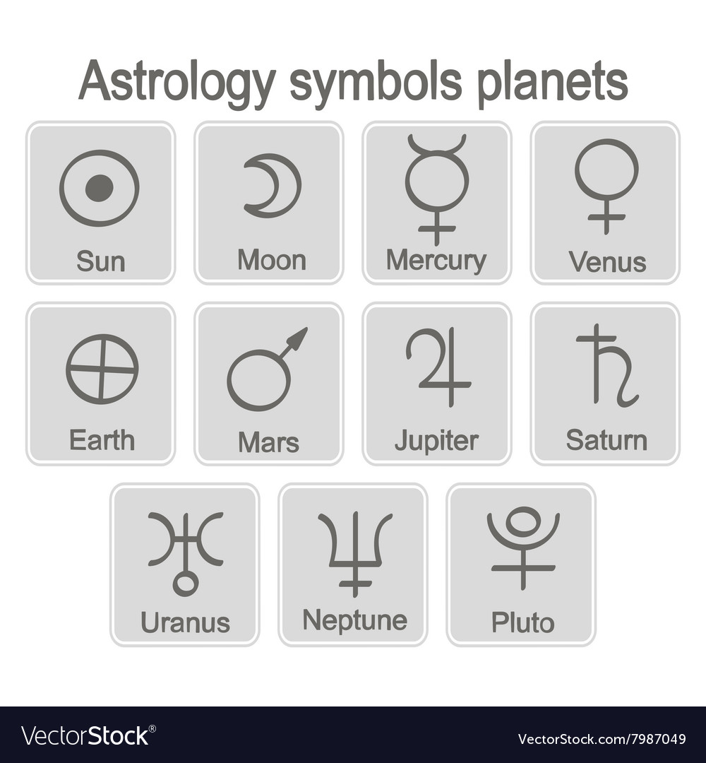 Monochrome Icon Set With Astrology Symbols Planets