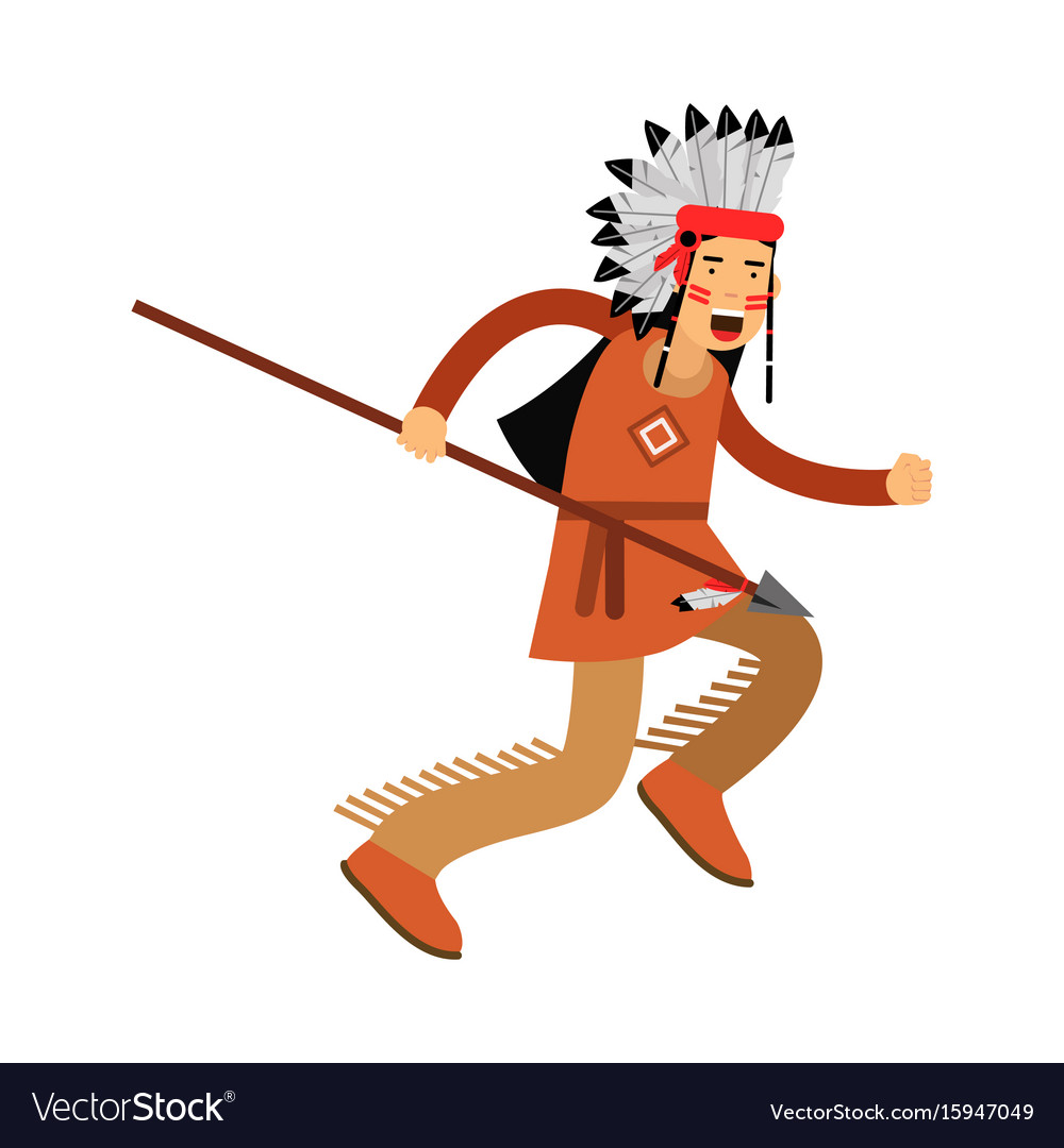 Native american indian in traditional costume and
