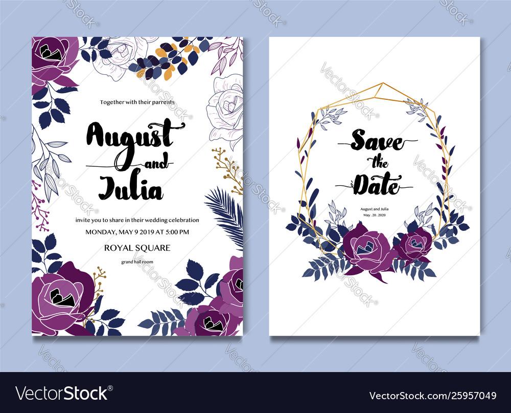 Purple white floral celebration wedding card