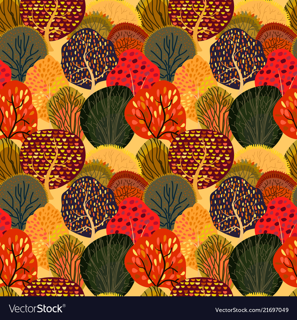 Seamless background with stylized autumn trees